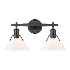 Orwell 2 Light Bath Vanity, Matte Black With Opal Glass