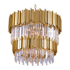 2-Tier Gold Rod Round Frame With Clear Crystal Chandelier