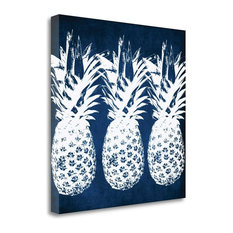 """""""Indigo Pineapple"""" By Linda Woods, Giclee Print on Gallery Wrap Canvas"""