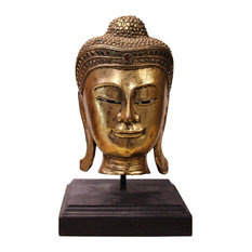 Handcrafted Wood Gold Color Serene Peaceful Meditate Buddha Head On Stand hn271