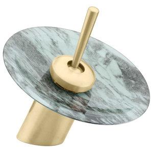 """Waterfall Faucet Heavy Antique Brass 7"""" Glass Short"""