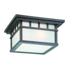 Barton 2 Light Outdoor Ceiling Light in Olde World Iron
