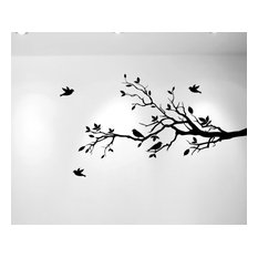 """Innovative Stencils - Tree Branches and Love Birds, Vinyl Sticker, 56""""x28"""", Black, Right to Left - Wall Decals"""