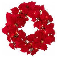 Fairy Lights Poinsettia Wreath