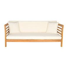 Safavieh Malibu Outdoor Day Bed, Teak Brown, Beige