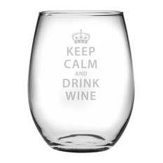 """""""Keep Calm and Drink Wine"""" Stemless Wine Glasses, Set of 4"""