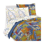 Dinosaur Bedding Set Blue Dino Blocks Bed, Twin