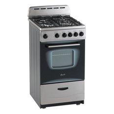 "Avanti 20""Freestanding Gas Range With 4 Sealed Burner Cooktop, Stainless Steel"