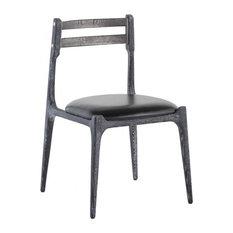20.8-inchW Set Of 2 Dining Chair Cerused Oak Frame Metal Back Rest Leather