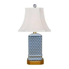 "Blue and White Geometric Square Porcelain Vase Table Lamp 15.5"""