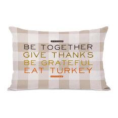 """Eat Turkey Plaid"" Indoor Throw Pillow by OneBellaCasa, 14""x20"""