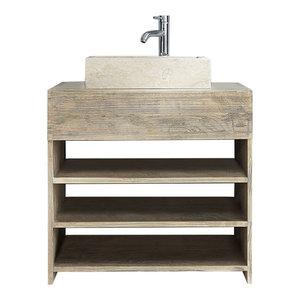Rubberwood Bathroom Vanity Unit With Open Shelves, 80 cm