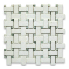 """12""""x12"""" Thassos White Basketweave Mosaic, Green Dots Honed, Chip Size: 1""""x2"""""""