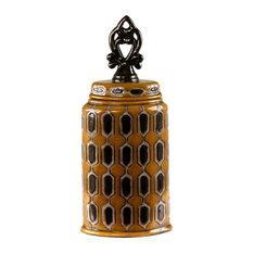 Privilege International Spotted Yellow Ceramic Vase