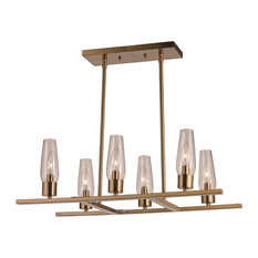 Salinas 6-Light Pendant in Antique Gold with Clear Glass