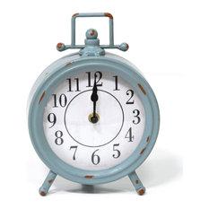 Vintage Blue Metal Table Clock