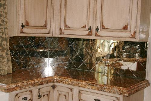 Antique Mirror Backsplash, Distressed Mirror Kitchen Tiles