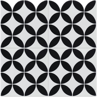 """8""""x8"""" Circulos B Black and White Morning, Handcrafted Cement Tiles, Set of 16"""