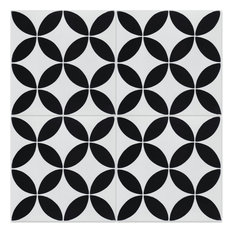 """8""""x8"""" Circulos B Black and White Morning, Handcrafted Cement Tiles, Set of 12"""