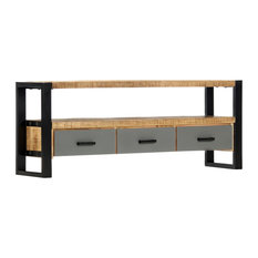 VidaXL Solid Mango Wood TV Cabinet 51.2-inch HiFi Media Entertainment Center Stand