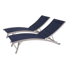 Clearwater 6-Position Aluminum Loungers With Wheel, Set of 2, Navy Steel