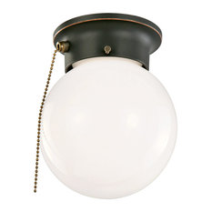 1-Light Flush Globe Ceiling Light With Pull Chain, Oil Rubbed Bronze