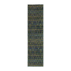 """Crete Tribal Green and Blue Rug, 2'7""""x10'"""