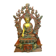 Mogul Inteior - Brass Statue of Meditating Buddha Collectible Figurine Buddhism Statues - Decorative Objects And Figurines