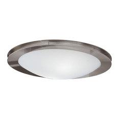 2x60W Ceiling Light, Matte Nickel Finish & Satin Glass