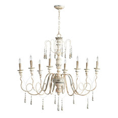Chantilly French Country Parisian Blue White 8 Light Chandelier