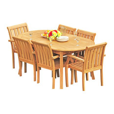 "Teak Deals - 7-Piece Teak Dining Set, 94"" Extension Oval Table, 6 Somer Stacking Chairs - Outdoor Dining Sets"