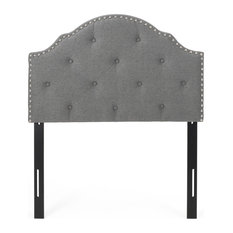 Sharon Contemporary Upholstered Twin King Headboard Charcoal Gray + Black