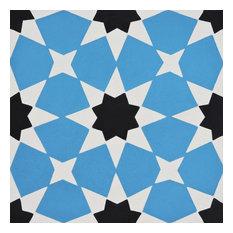Medina Handmade Cement Tile, Blue-Black, Set of 12