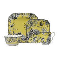 Adelaide 16-Piece Dinnerware Set, Blue, Yellow