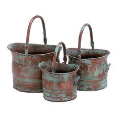 Metal Planter Rustic Green Brown Set of 3 Patio Outdoor Home Decor 26909