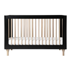 Lolly 3-in-1 Convertible Crib With Toddler Bed Conversion Kit, Black and Washed