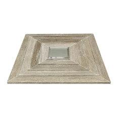 "Tonya Comer Boulevard Tennessee Taupe 16""x16"" Tile, Beveled Dark Gray Mirror"