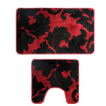 Xinan Artware Co., LTD - 2-Piece Red and Black Bath Mat Set - This 2pc bathroom rug  set will add comfort and style. Perfectly sturdy for use in bathrooms, set is designed to fit in front of the toilet and either the bath tub, shower, or sink. Natural colors work with any decor and style of the room. Wipe/blot clean with a damp cloth and mild soap.