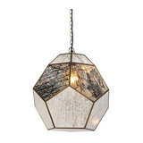 Vintage Pendant Lamp Brass with Antique Stained Shade - Scone