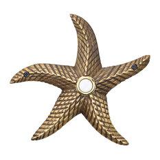 Brass Starfish Doorbell in 4 Finishes, Antique Brass