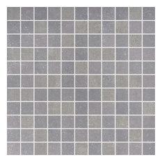"12""x12"" Fossil Porcelain Mosaic Tile, Dark Gray"