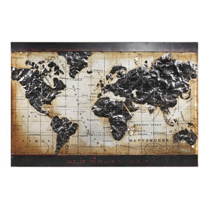 """World Map 2"" Mixed Media Iron Hand Painted Dimensional Wall Art"