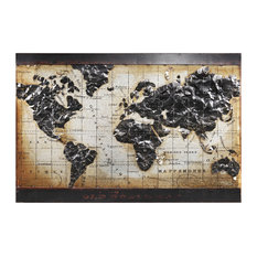 """World Map"" Wall Art Mixed Media Iron Hand Painted Dimensional Wall Sculpture"