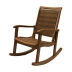 Salinas Resin Wicker and Eucalyptus Rocker Chair, Brown