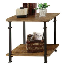 HomeleganceLA, Inc   Homelegance Factory Rectangular End Table With Wrought  Iron Base   Side Tables