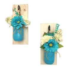 Splash of Teal Mason Jar Wall Sconces Floral Arrangements, Set of 2