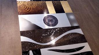 table en métal décoré à la main cm70 x cm160