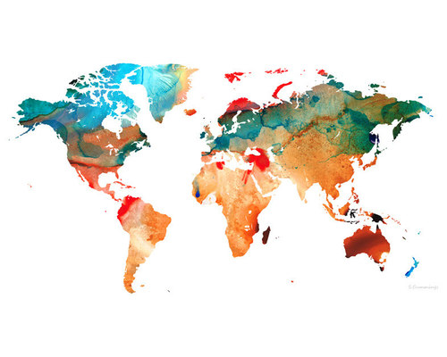 Maps World And US Maps Large Colorful Unique Wall Art From - Us map large