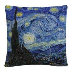 "Vincent Van Gogh 'Starry Night' 16""x16"" Decorative Throw Pillow"
