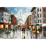 "Bayland Collection - ""Rainy Paris Streets XIII"" Oil Painting Print on Wrapped Canvas; Modern Fine Art - Up the ante of your gallery wall with this hand-wrapped canvas print, crafted in the United States.Add this piece above your favorite sofa for a museum-worthy focal point."
